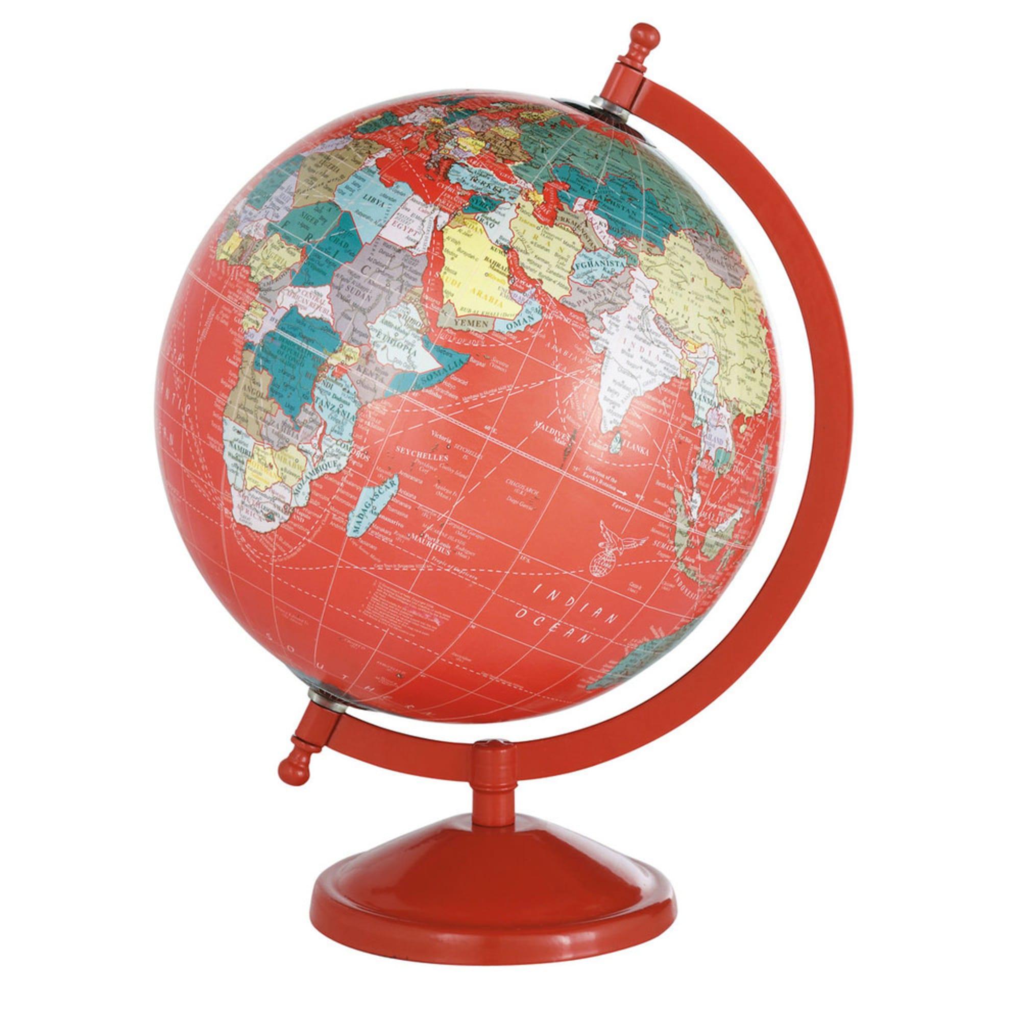 Globe terrestre carte du monde rouge