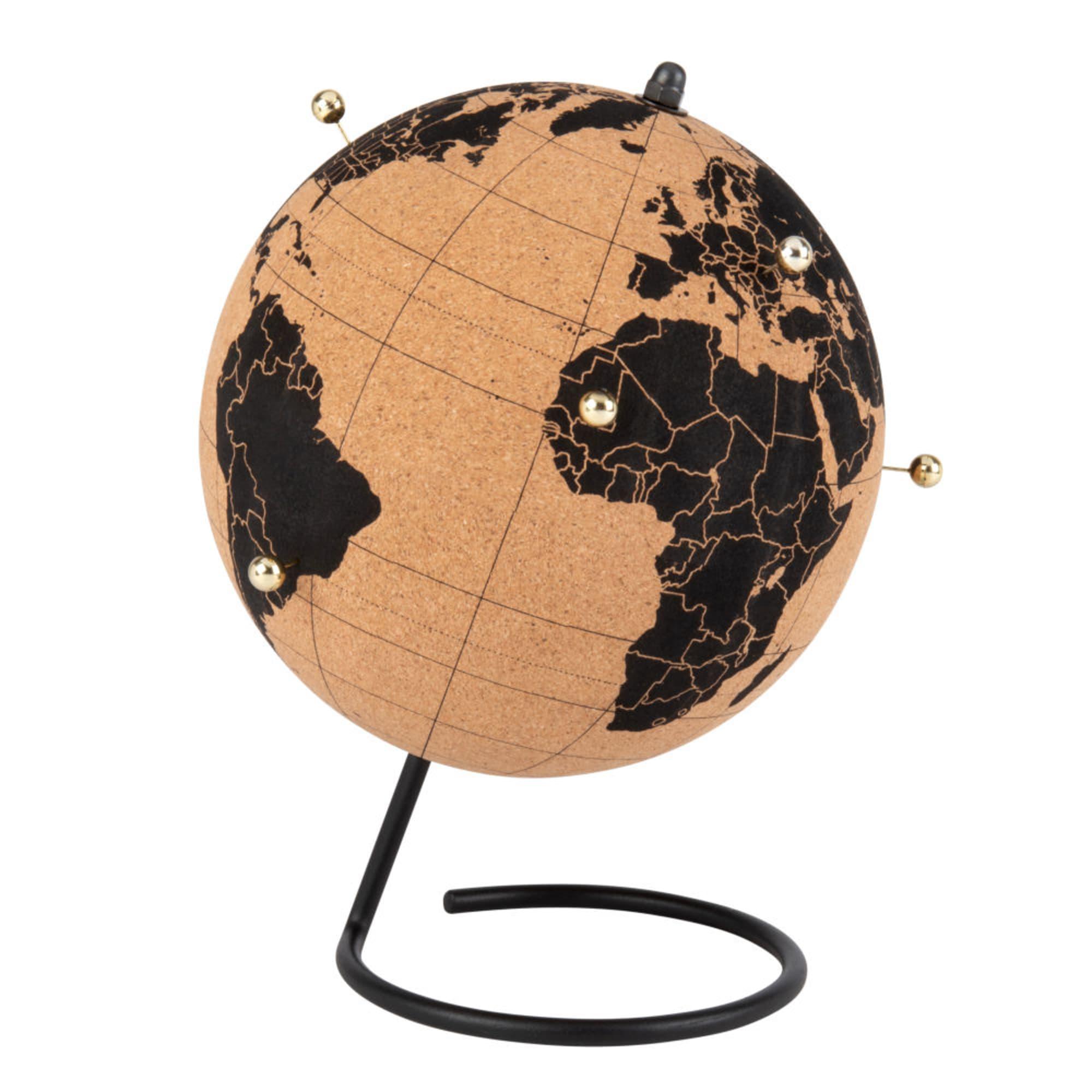 Globe terrestre en liège noir et marron