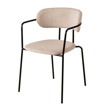 Chaise beige et métal noir mat Gimmy | Maisons du Monde