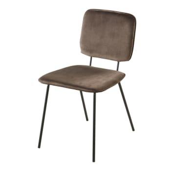 Chaise en velours ocre et métal noir Griffin   Maisons du Monde