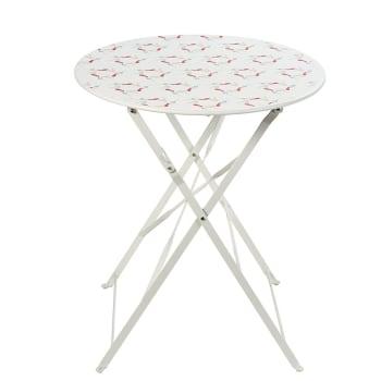 Table de jardin pliante en métal rose D58 Guinguette ...