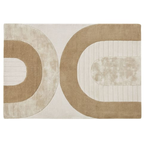 140x200cm Brown White And Beige Hand Tufted Rug With Arch Design Hajo Maisons Du Monde
