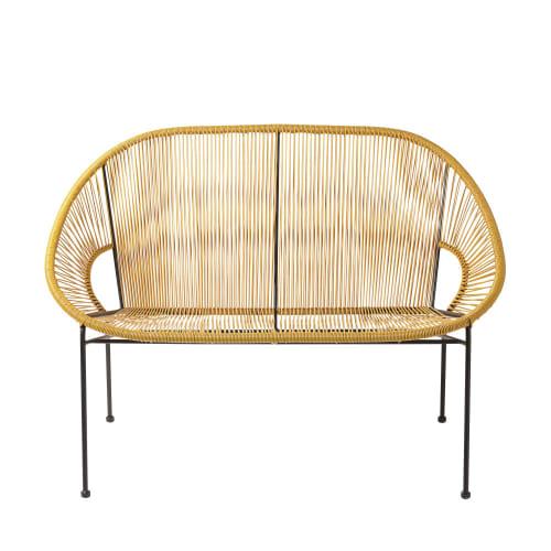 Enjoyable 2 3 Seater Garden Bench In Mustard Yellow Resin And Black Metal Beatyapartments Chair Design Images Beatyapartmentscom