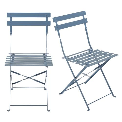 2 chaises de jardin pliantes en métal époxy bleu gris H80