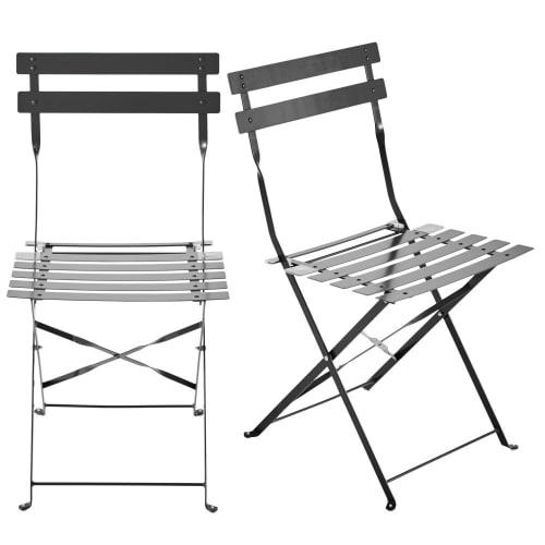 2 chaises pliantes de jardin en métal taupe