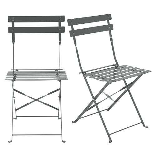 Fabulous 2 Grey Epoxy Treated Metal Folding Garden Chairs H80 Ncnpc Chair Design For Home Ncnpcorg