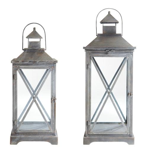 Lanterne en métal rouille 45 cm