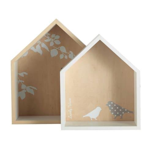 Maison Du Monde Mensole.2 Mensole Casette Bianche H 30 E H 35 Cm Birds