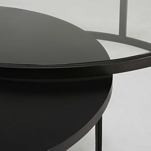 2 mesas apilables de vidrio templado y metal negro eclipse - Mesas de vidrio templado ...