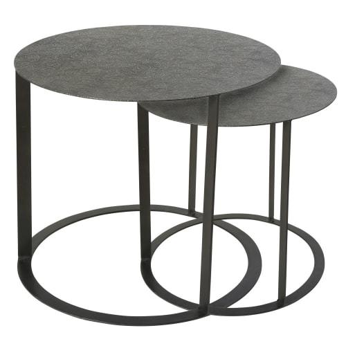 Tavolini Soggiorno Maison Du Monde.2 Sculpted Black Metal Side Table Salma Maisons Du Monde