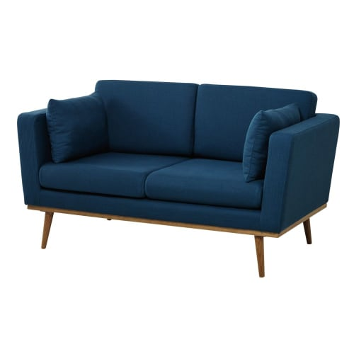 2 Seater Fabric Sofa In Petrol Blue Timeo Maisons Du Monde