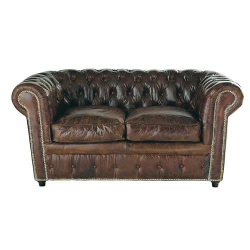 Divano Chesterfield Maison Du Monde.2 Seater Leather Button Sofa In Brown