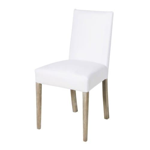 2 sedie da foderare bianche e gambe in legno massello di pino