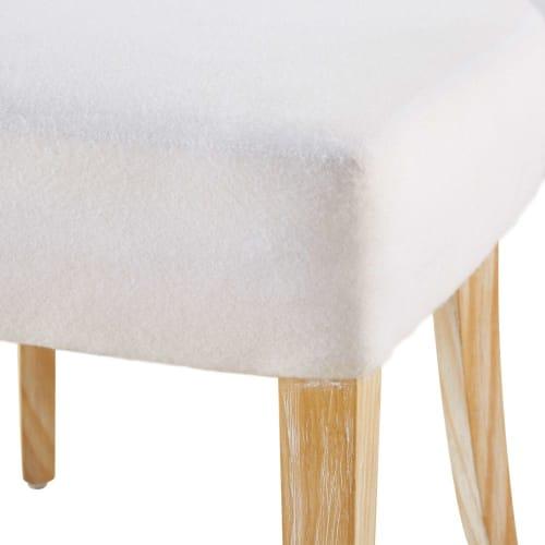 2 sedie da foderare bianche in legno massello di pino
