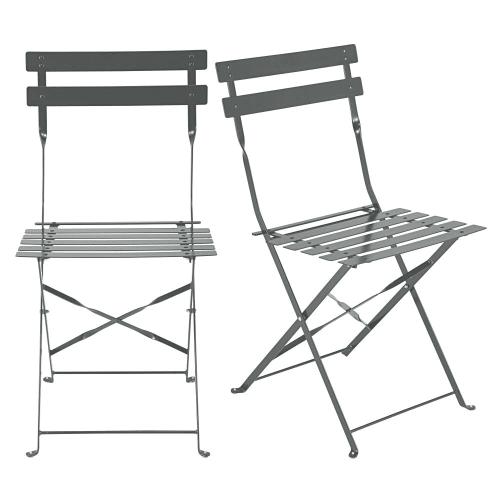 2 sillas plegables de jardín de metal epoxi gris Alt.80 | Maisons du Monde