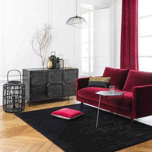 2-Sitzer-Sofa mit bordeauxrotem Samtbezug