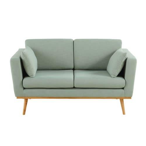2 Sitzer Vintage Sofa Grau Grun