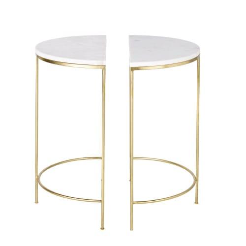 2 Tables De Chevet En Metal Dore Et Marbre Blanc Midtown Maisons