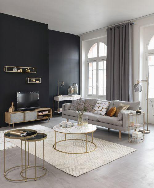 2 tavolini da salotto in metallo dorato e vetro