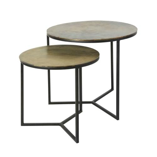 Tavolini Salotto Maison Du Monde.2 Tavolini Da Salotto In Metallo Nero E Dorato Lhassa Maisons Du