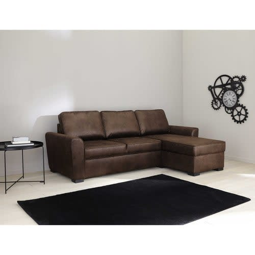 3/4 Seater Brown Microsuede Corner Sofa Bed Montréal ...