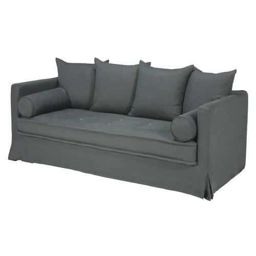 3/4-Sitzer-Sofa mit Bezug aus anthrazitfarbenem ...