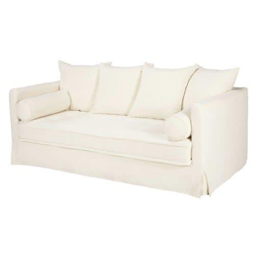 3/4-Sitzer-Sofa mit Bezug aus weißem gewaschenem Leinen ...