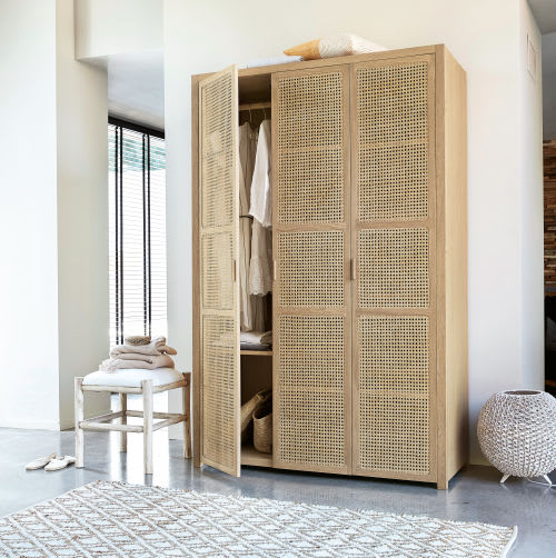 3-Door Wardrobe with Rattan