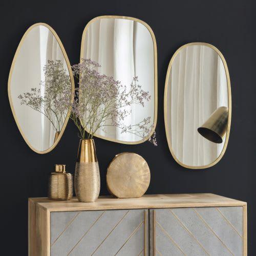 3 Miroirs En Métal Doré
