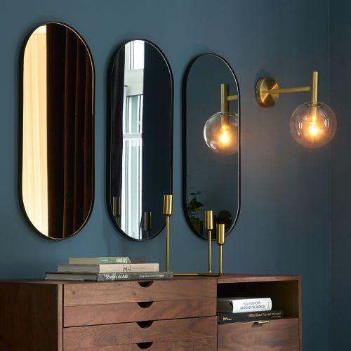 3 Miroirs En Métal Noir 30x70