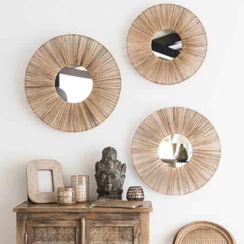 3 Miroirs En Rotin D60