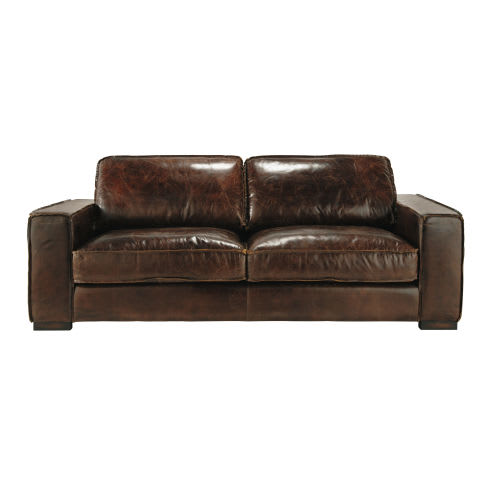 3-Seater Brown Leather Sofa Bed