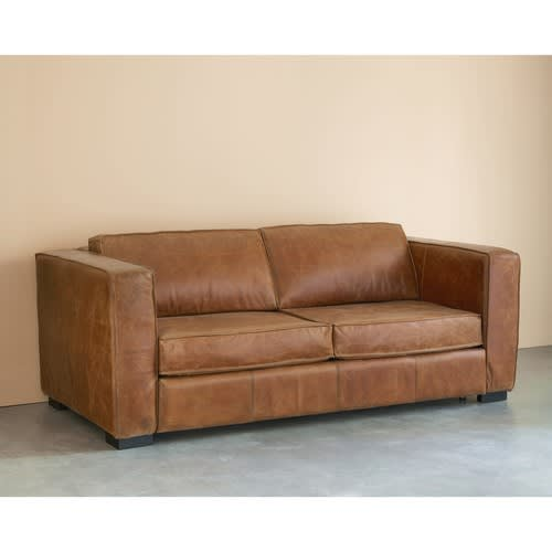 3 seater distressed leather sofa bed in brown