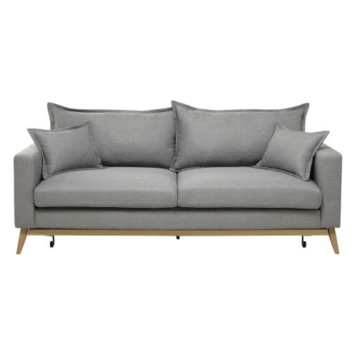 Strange 3 Seater Fabric Sofa Bed In Light Grey Download Free Architecture Designs Ogrambritishbridgeorg