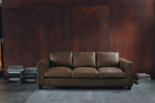 3 Seater Imitation Suede Sofa in Brown
