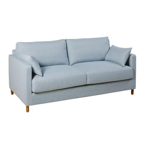 3 Sitzer Schlafsofa Eisblau Matratze 14 Cm