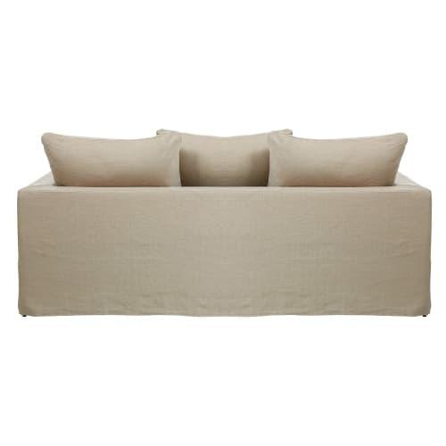 3-Sitzer-Sofa, Bezug aus gewaschenem Leinen, beige