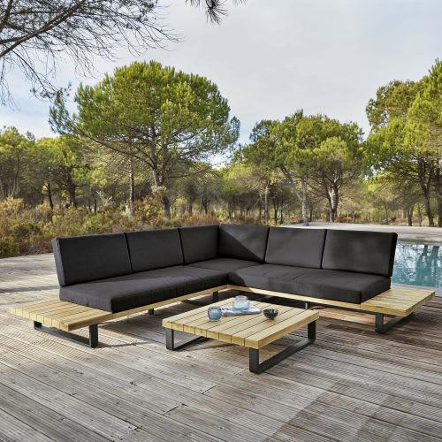 4-5-Sitzer Gartensitzgarnitur aus Aluminium und massivem Akazienholz