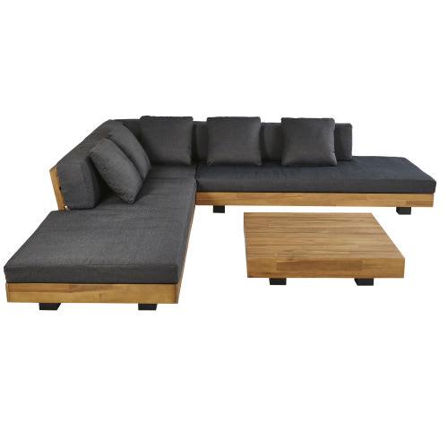 4/6-Sitzer-Gartenmöbel aus massivem Akazienholz und anthrazitgrauem  Segeltuch