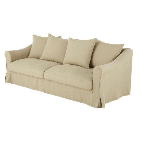 4-Sitzer-Sofa mit Baumwollbezug aus gewaschenem Leinen ...