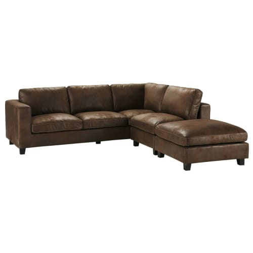 5-Seater Imitation Suede Corner Sofa in Brown
