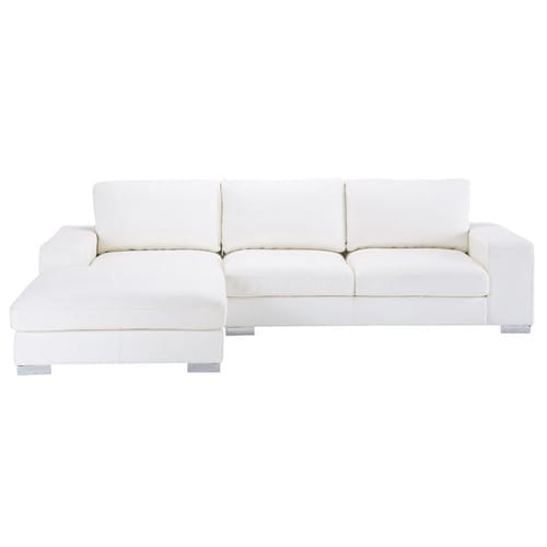 Phenomenal 5 Seater Leather Corner Sofa In White Home Interior And Landscaping Eliaenasavecom