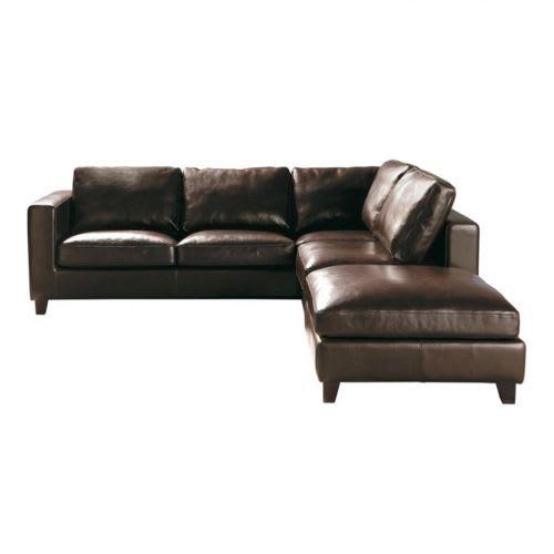 5-Seater Split Leather Corner Sofa Bed in Brown