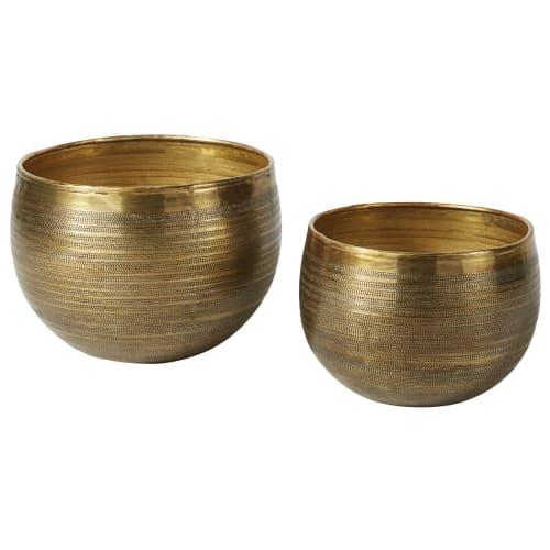 Aged Effect Hammered Gold Metal Pots (x8)  Maisons du Monde