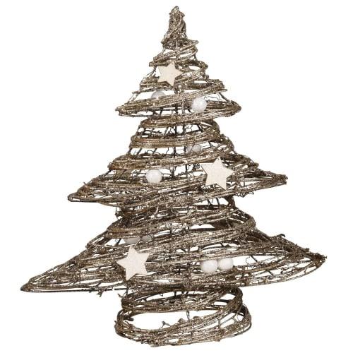 Albero Di Natale 40cm.Albero Luminoso In Rattan 40 Cm Silver Maisons Du Monde