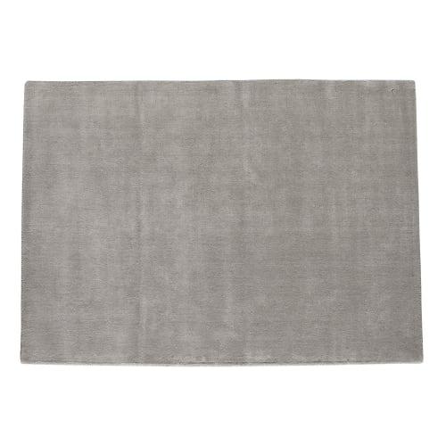 Alfombra de pelo corto gris de lana 200 × 200 cm Soft
