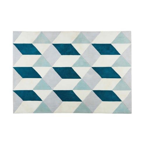 alfombras azules de la sala Alfombra De Tela Con Motivos Grficos Azules Y Grises 140x200 Cm