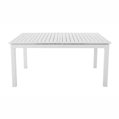 Aluminium extending garden table in white W 160-210cm