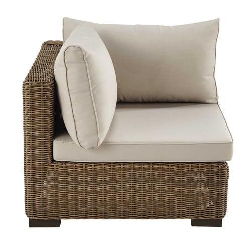 Angle de canapé de jardin en résine tressée et tissu beige sable
