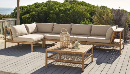 Angle de canapé de jardin en résine tressée et toile taupe clair